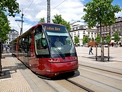 Tram in the city, Clermont-Ferrand, Auvergne, France, Europe