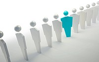 3D people symbols _ blue unique character in a line