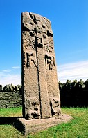 Celtic Pictish mediaeval Christian cross slab symbol stone by the roadside near village of Aberlemno, Tayside, Scotland