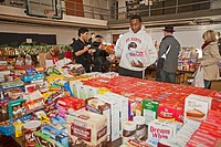 Pontiac, Michigan - Jalen Echols, a senior at Orchard Lake St  Mary´s, a Catholic boys school, sorts donated food which will be distributed to low-inc...