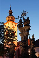 Germany, Bavaria, Upper Palatinate, Tirschenreuth, View of parish church with trinity column