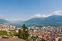 Switzerland, Ticino, View of Locarno with Lake Maggiore