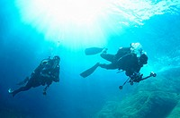 Scuba divers exploring La Gabiniere dive spot, Port-Cros, France underwater view