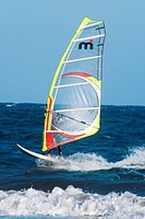 Windsurfing on the beach of El Medano, Tenerife, Canary Islands, Spain