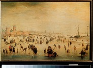 Winter scene. Avercamp, Hendrick (1585-1634). Oil on wood. Dutch Painting of 17th cen. . State A. Pushkin Museum of Fine Arts, Moscow. 24x38. Painting...