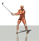 muscle man as golfer