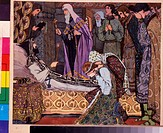 The Decease of Grand Duke Dmitri Donskoi of Moscow. Vladimirov, Vasili Vasilyevich (1880-1931). Watercolour and white colour on paper. Russian Paintin...