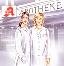 Illustration _ Two female pharmacists standing in front of a pharmacy
