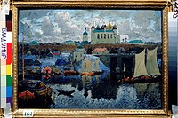 Novgorod. Pier. Gorbatov, Konstantin Ivanovich (1876-1945). Oil on canvas. Russian Painting, End of 19th - Early 20th cen. . 1919. State Museum of Arc...