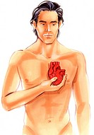 Naked man holding a heart in front of his breast .