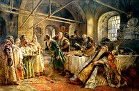 The Kiss Ceremony. Makovsky, Konstantin Yegorovich (1839-1915). Oil on canvas. Russian Painting of 19th cen. . 1895. State Russian Museum, St. Petersb...