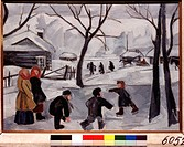 Boys skating. Goncharova, Natalia Sergeevna (1881-1962). Oil on canvas. Russian avant-garde. 1908. State Tretyakov Gallery, Moscow. 48,9x70,5. Paintin...
