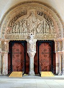 Portal in Church Sainte Marie Madeleine Basilica of St. Magdalene, Vezelay, Yonne department, Burgundy, France