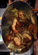 Neptune. Torelli, Stefano (1712-1784). Oil on canvas. Rococo. 1768. State Open-air Museum Oranienbaum. 135x94. Painting.