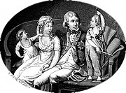 The Family of King Frederick William III of Prussia. Henne, Eberhard Siegfried (1759-1828). Copper engraving. Classicism. Private Collection. Graphic ...