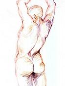 man with arms raised, Torso