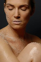 Natural cosmetics : salt _ face of a young woman