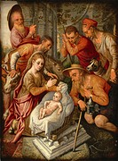 Adoration of the Shepherds. Pietersz, Pieter, the Elder (1540-1603). Oil on wood. Early Netherlandish Art. c. 1565. Private Collection. 70x52. Paintin...