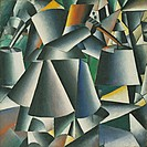 Woman with Water Pails. Dynamic Arrangement. Malevich, Kasimir Severinovich (1878-1935). Oil on canvas. Suprematism. 1913 or after 1927. © Museum of M...