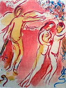 The Expulsion from the Paradise. Chagall, Marc (1887-1985). Colour lithograph. Modern. 1960. Private Collection. 27,5x35,5. Graphic arts. © VG-Bild-Ku...