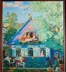 Small Blue House. Kustodiev, Boris Michaylovich (1878-1927). Oil on canvas. Realism. 1920. State A. Radishchev Art Museum, Saratov. 110x110. Painting.