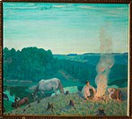 Campfire. Kustodiev, Boris Michaylovich (1878-1927). Oil on canvas. Realism. 1916. State A. Radishchev Art Museum, Saratov. 77x88,5. Painting.