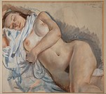 Sleeping nude. Serebriakova, Zinaida Yevgenievna (1884-1967). Pastel on paper. Russian Painting, End of 19th - Early 20th cen. . 1932. Private Collect...