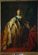 Portrait of Empress Catherine II (1729-1796). Drozhdin, Petro Semyonovich (1745-1805). Oil on canvas. Classicism. 1796. Russia. State Tretyakov Galler...