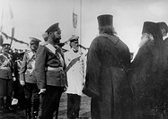 Tsar Nicholas II talking to Religious representatives during the Celebrate the 100th Annyversary of the War in 1812. Russian Photographer . Silver Gel...