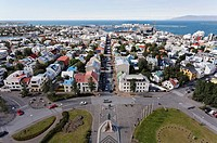 View over the city from the top of Hallgrimskirkja church, Rejyjavik, Iceland