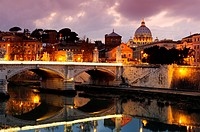 Rome, Italy  Sunset at St  Peter´s basilica and river Tiber.