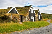 Grass-roofed houses of Sel, Sel, Iceland