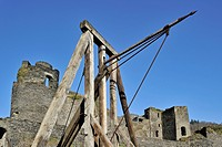 Springald / Ballista, a mechanical artillery device at the ruined medieval castle in La Roche_en_Ardenne, Ardennes, Belgium