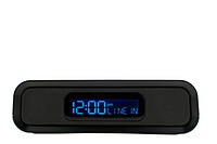 A black clock radio with line in option