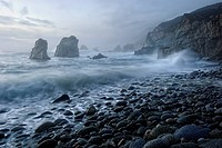 View of the crashing waves from Soberanes Point in Garrapata State Park. It is a California State Park located on Highway 1, 6.7 miles south of Carmel...