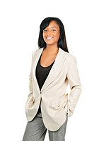 Happy young black businesswoman standing isolated on white background