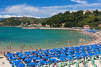 Tourists on the beach, Lerici, Province of La Spezia, Liguria, Italy, Europe