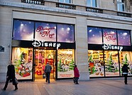 Paris, France, Disney Products Store, Front at Night, on Avenue Champs Elysees