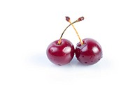 Ripe cherry red on white background