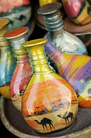 Souvenir bottles filled with desert sand, Aqaba, Jordan