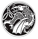A druidic astronomical symbol of a dragon, in a circle pattern artwork, isolated against a white background