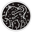 A druidic astronomical symbol of a panther or wildcat, in a circle pattern artwork, isolated against a white background