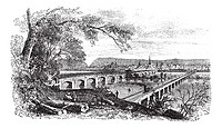 Harrisburg,Pennsylvania, United States View from the left bank of the Susquehanna vintage engraving  Old engraved illustration of bridges across the r...