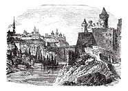 Kamyanets-Podilsk or Kamenets-Podolsky in Ukraine, during the 1890s, vintage engraving  Old engraved illustration of Kamyanets-Podilsk with river