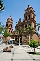 Bolivia. Santa Cruz city. The Cathedral of San Lorenzo (1770-1838) in the square September 24