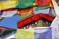 Buddhist stupa and prayer flags at Bodhnath, Kathmandu, Nepal