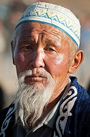 portrait of an old Kazakh man the Altai Region of Bayan-Ölgii in Western Mongolia