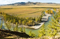 beautiful landscape in the Orkhon River Valley of Central Mongolia