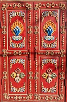 artwork on a temple door at Kharakorim Monastery in Central Mongolia