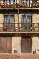 Detail of facade in Els Hostalets d´en Bas, Garrotxa,Girona province  Catalonia  Spain